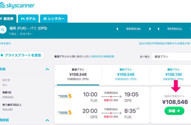 個人手配 航空券 料金 シンガポール航空