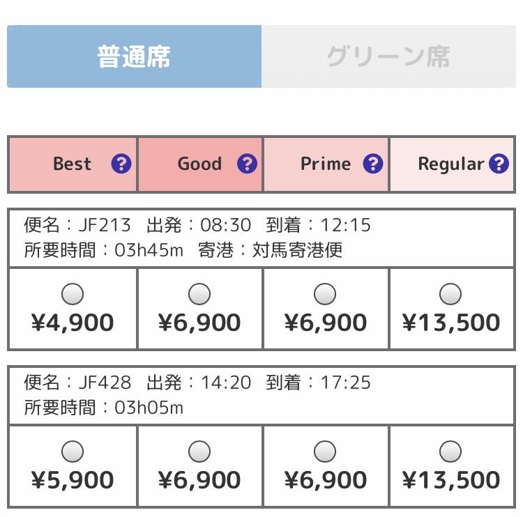 釜山旅行 フェリー ビートル 料金