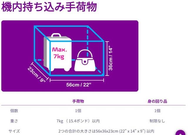 香港エクスプレス 機内持ち込み サイズ