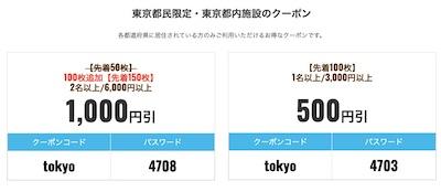 東京都民限定クーポンJTB